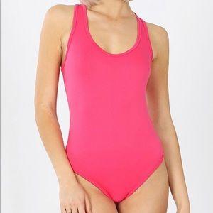 Everyday racer back tank hot pink bodysuit S-XL